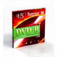 Диск VS DVD+R 4.7 Gb 16x конверт 5 шт