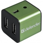 USB хаб Defender QUADRO IRON USB 2.0 Green