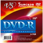 Диск VS DVD-R 4.7 Gb 16x конверт 5 шт